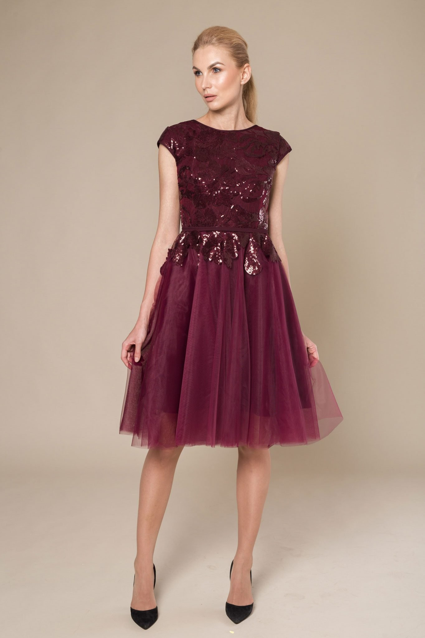 Burgundy midi dress with sequin top
