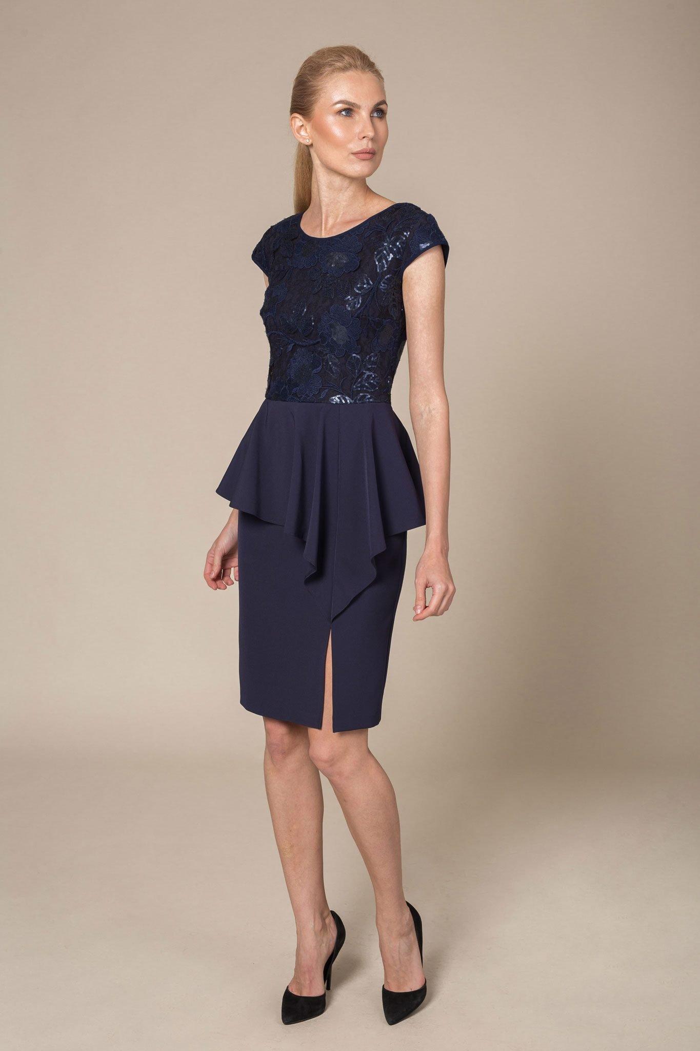 Sequin Bodice Ruffled Midi Dress