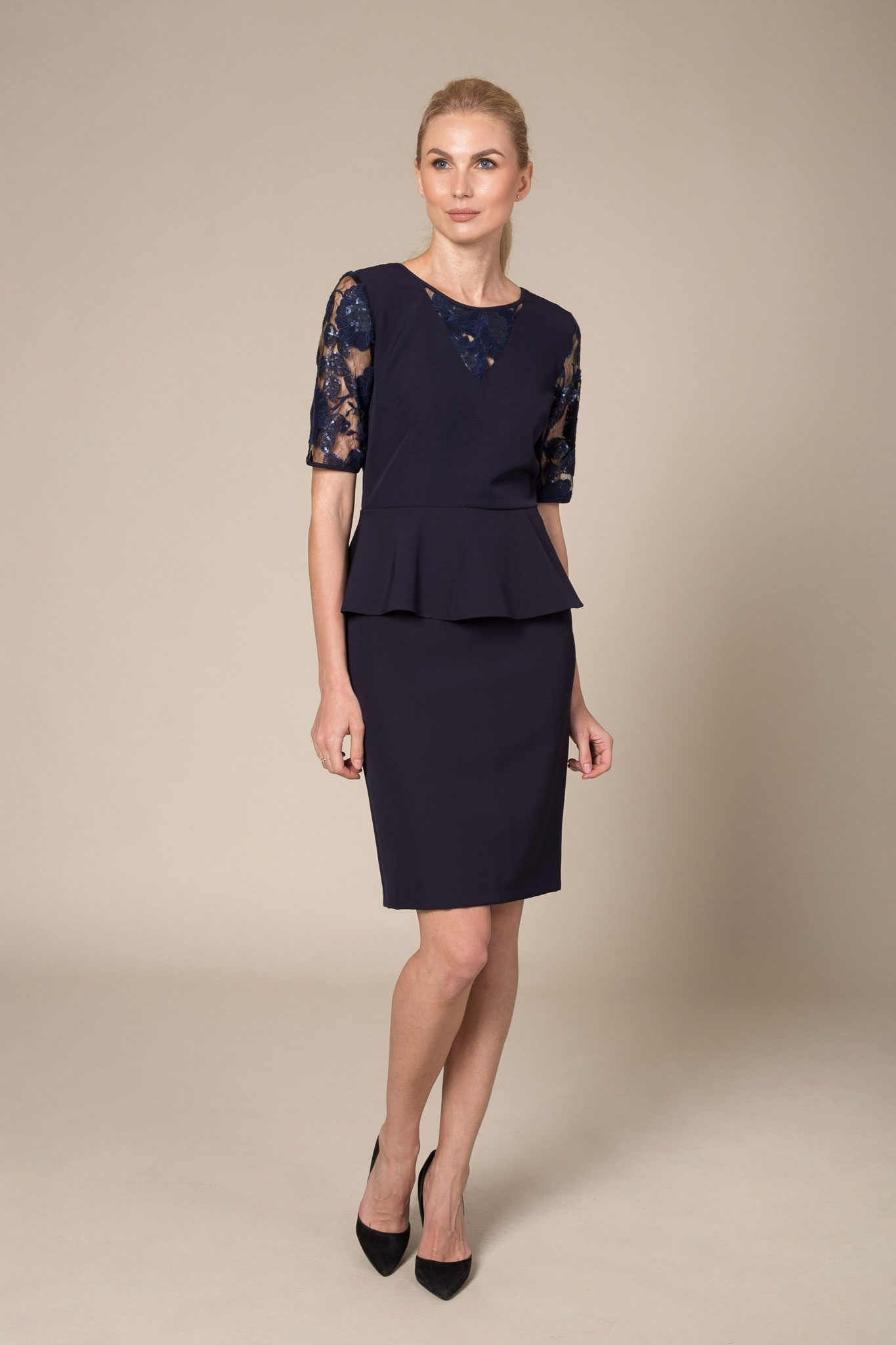 Navy blue tulle lace sleeves dress