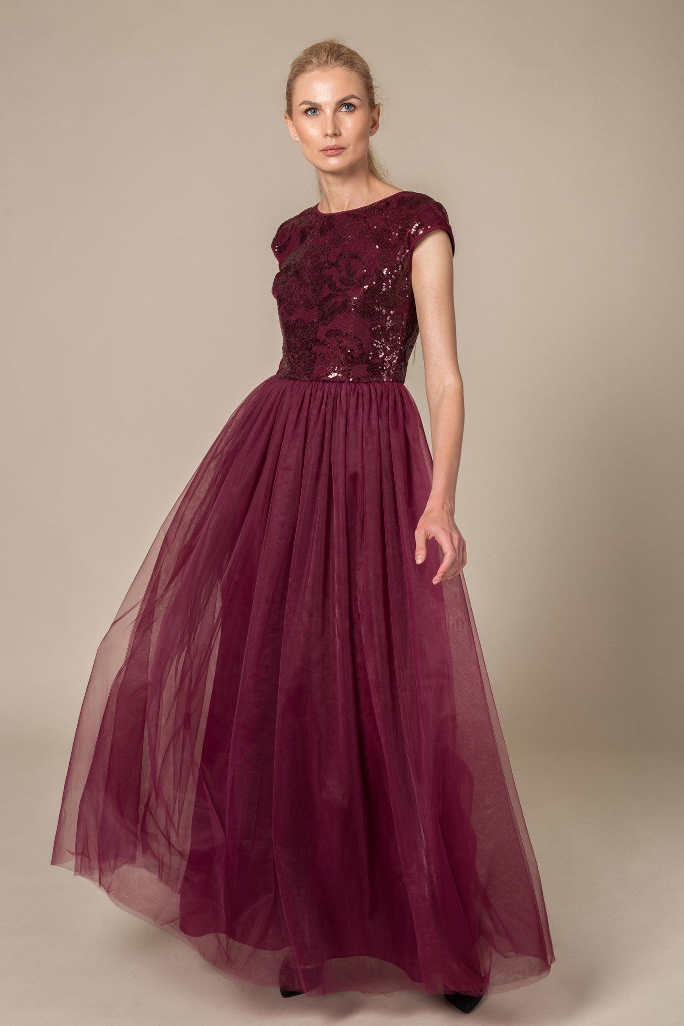 Floor length burgundy evening dress with sequin top