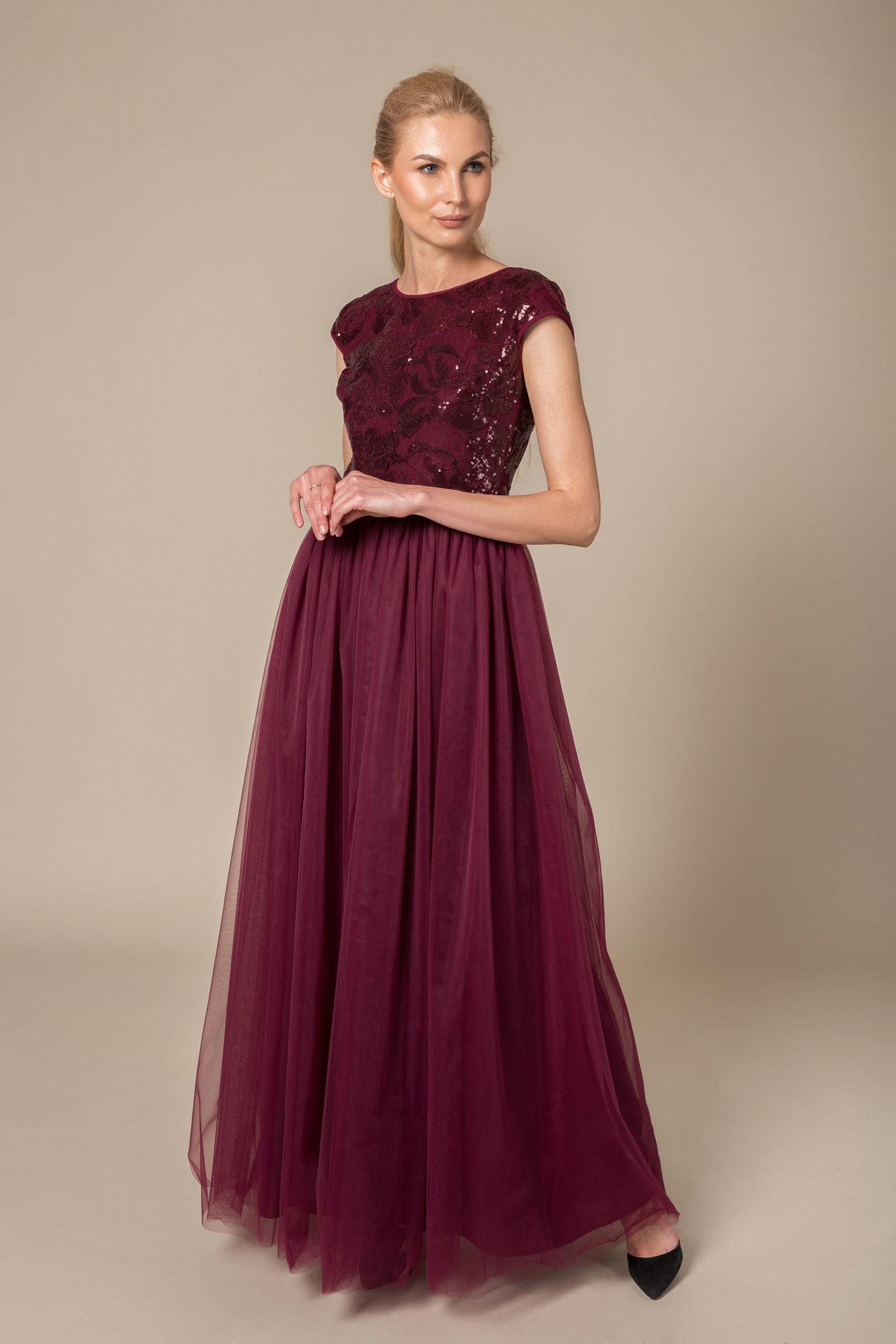 Burgundy sequin & tulle evening dress