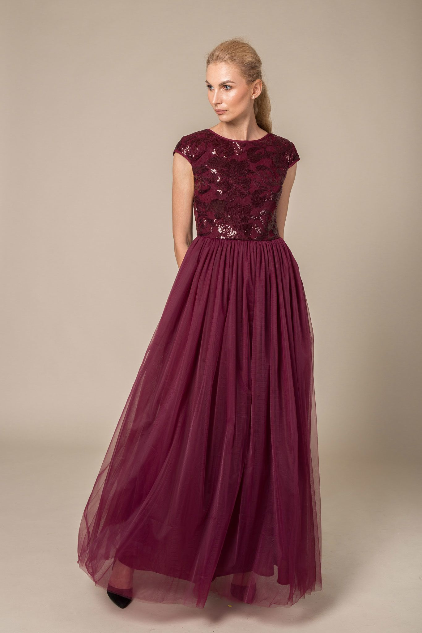 Long burgundy mother of the bride dress
