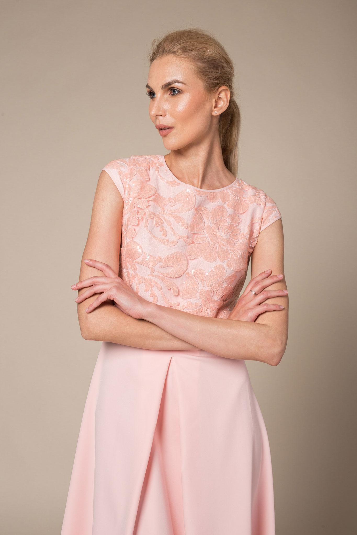 Blush Sequin Top Cap Sleeved Floor Length Evening Dress