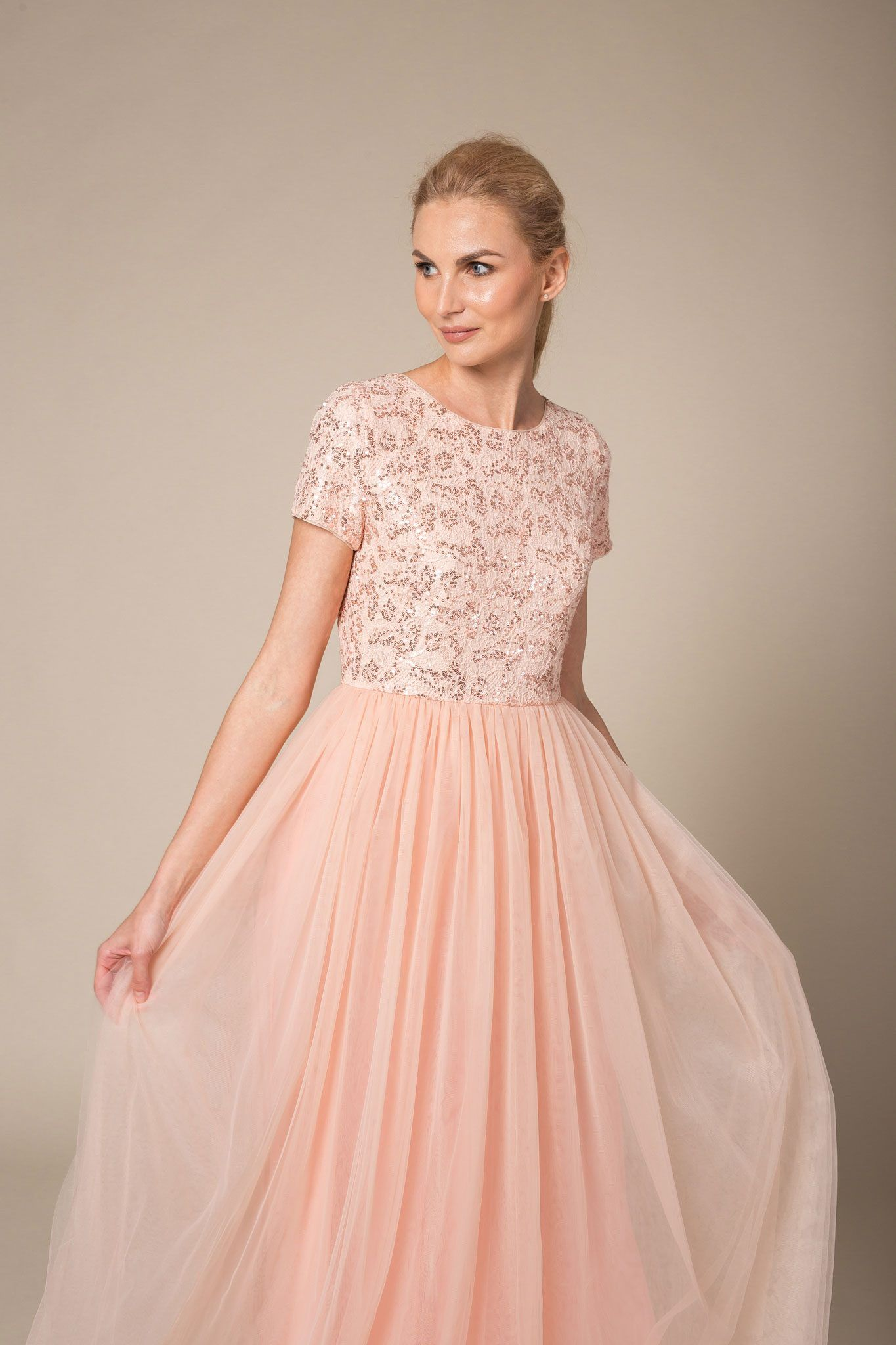 Peach maxi dress with tulle skirt