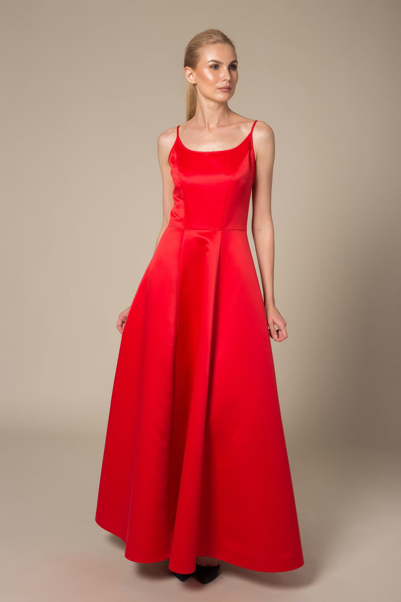 Red spaghetti strap dress with a scoop neck