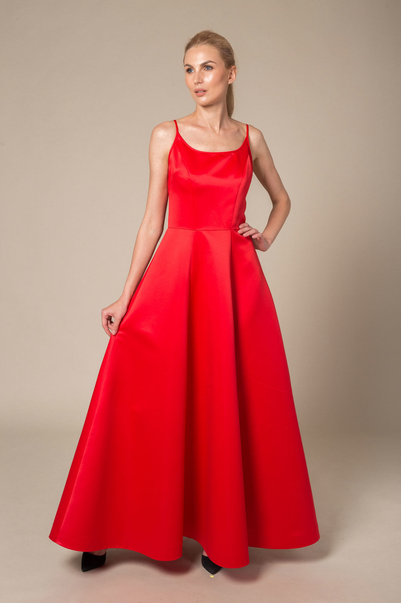 Red floor length evening dress