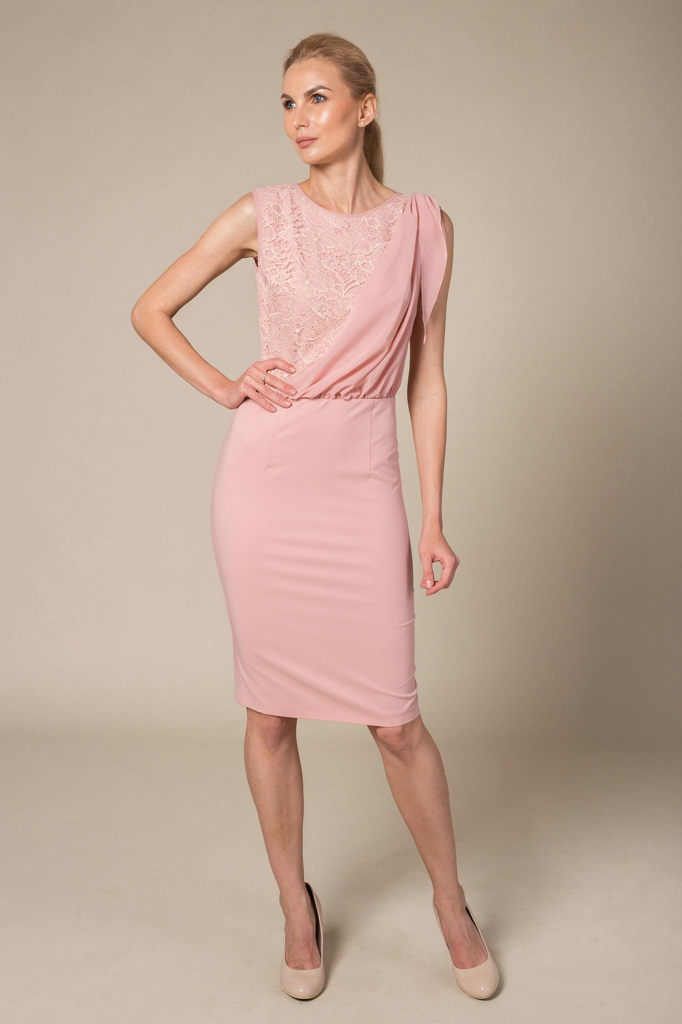 Blush evening dress with one shoulder overlay detail