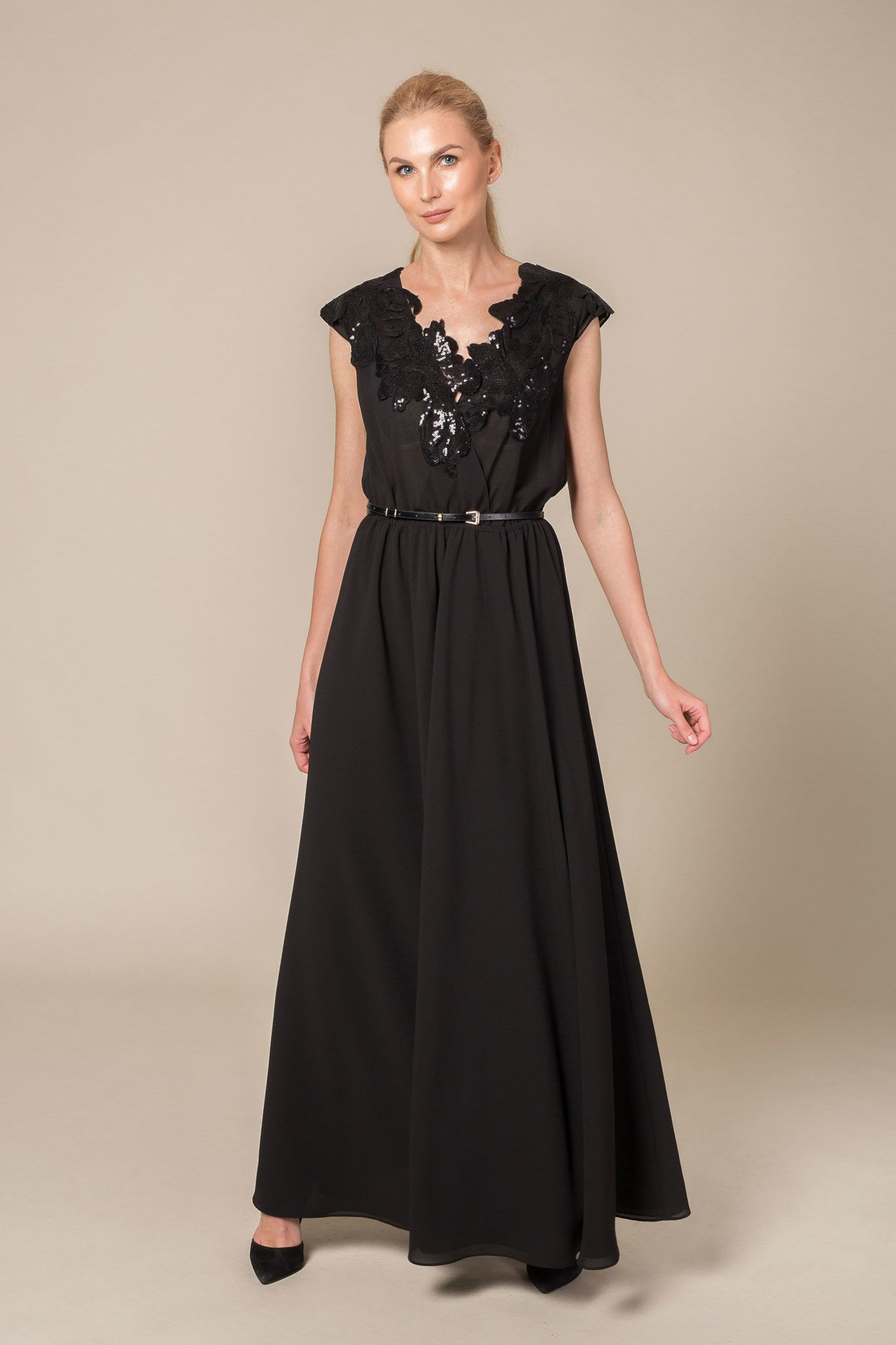 Black belted maxi dress with sequin neckline detail