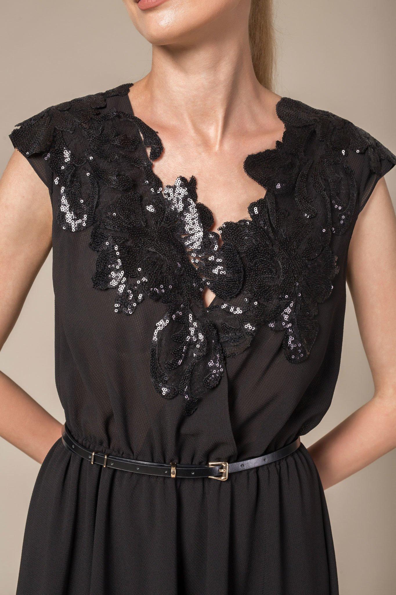 Sequin neckline detail V-neck long evening dress