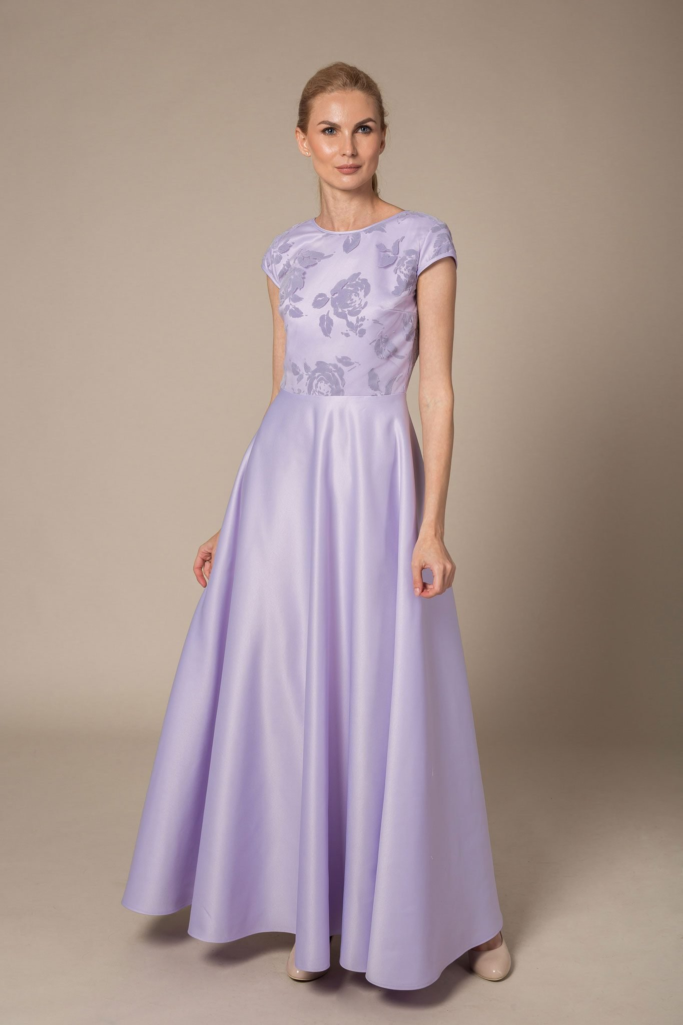 Lavender maxi dress with floral pattern
