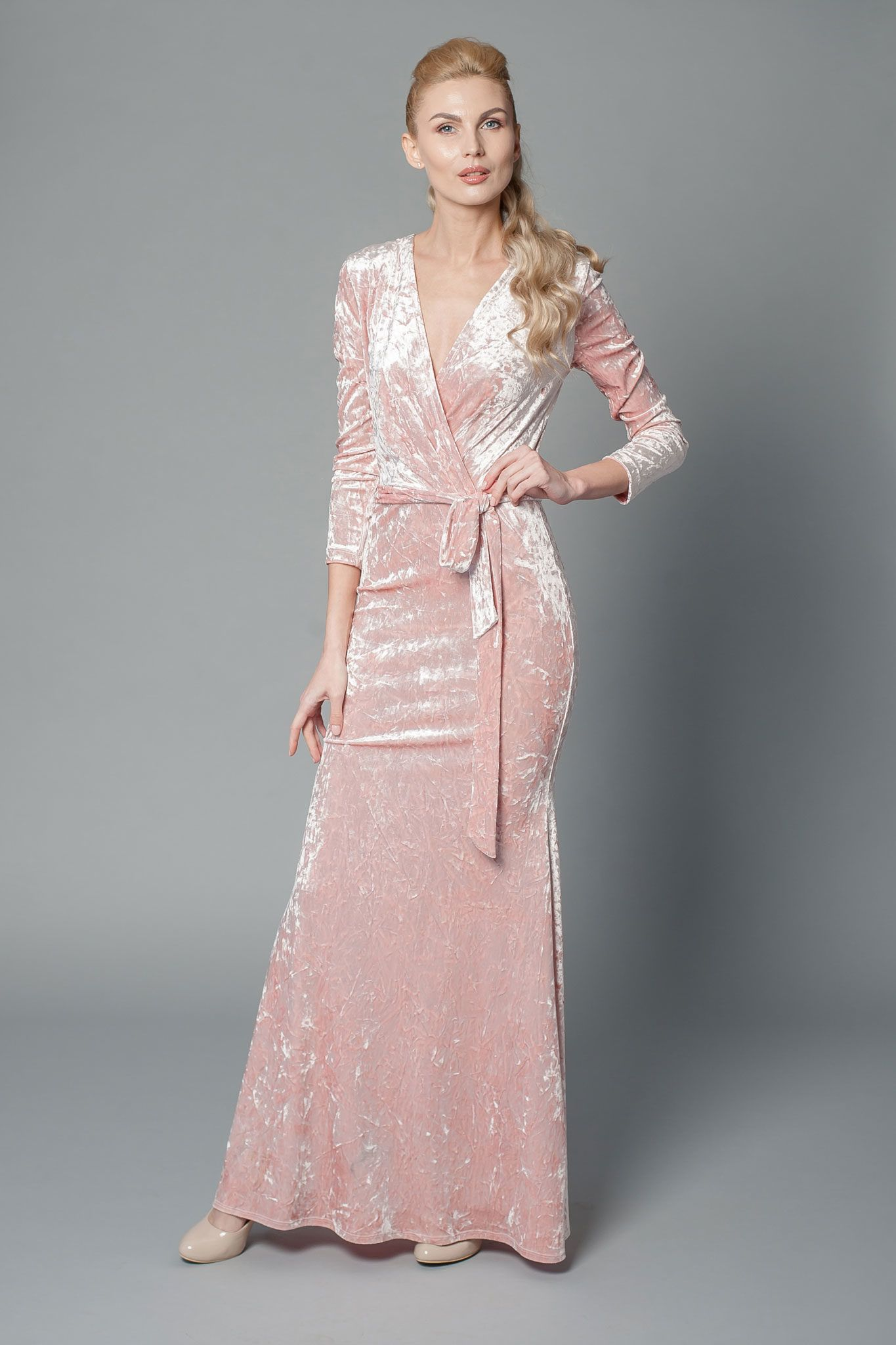 Velvet mother of the bride dress with front wrap