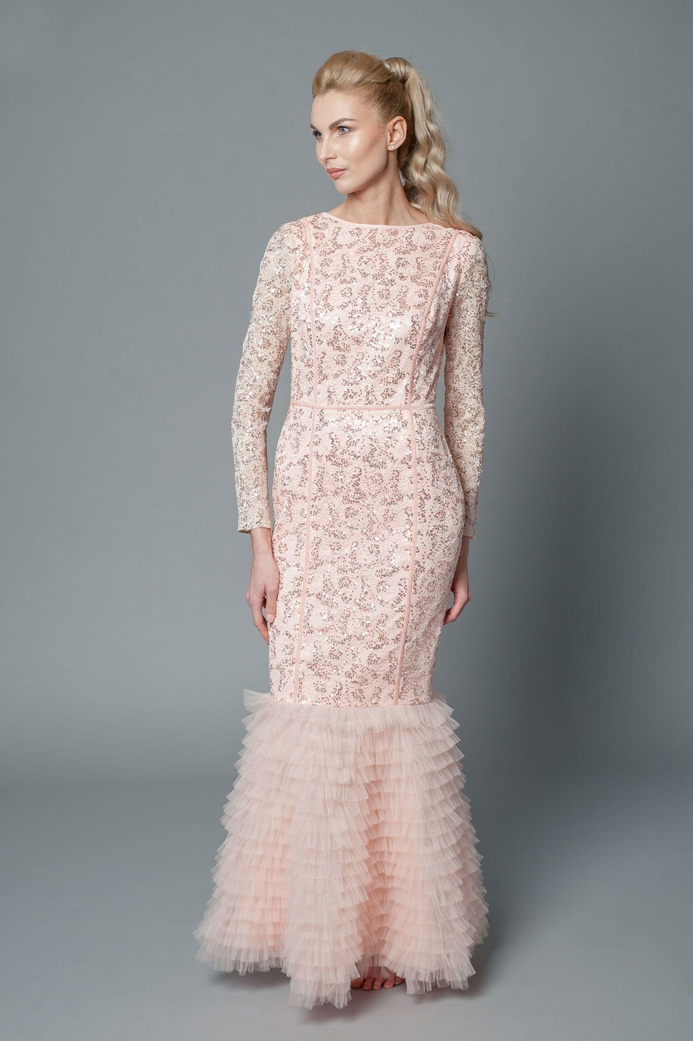 mermaid bridesmaid dress with long sleeves