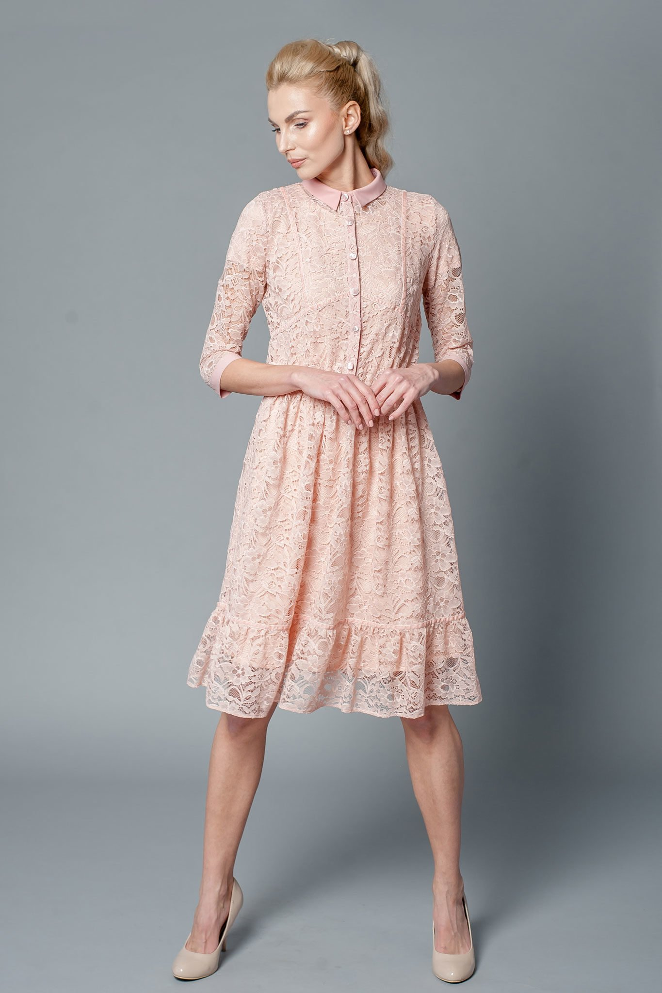 Mother of the bride dress with chiffon collar and cuffs