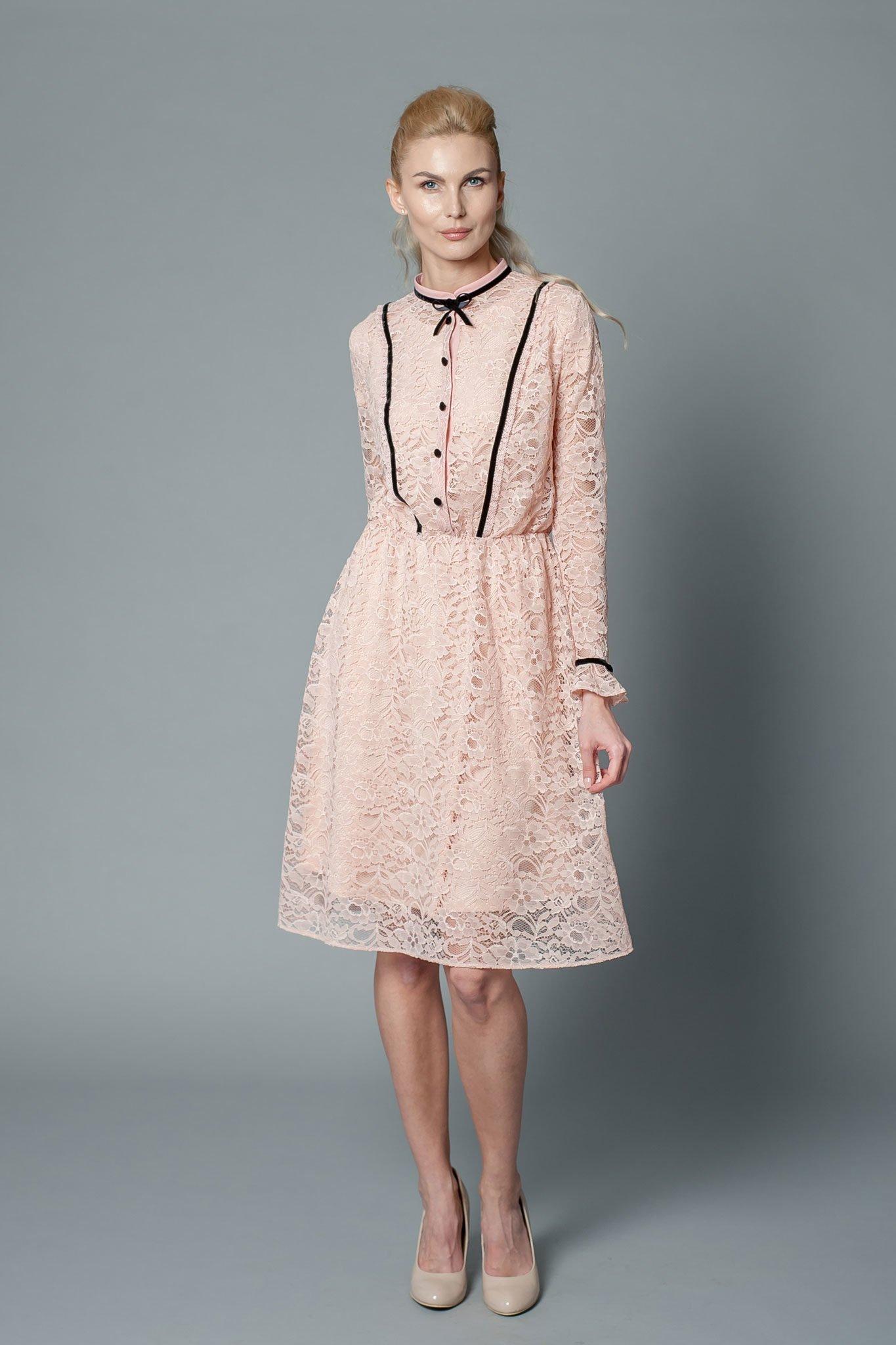 Blush pink knee-length bridesmaid dress with long sleeves