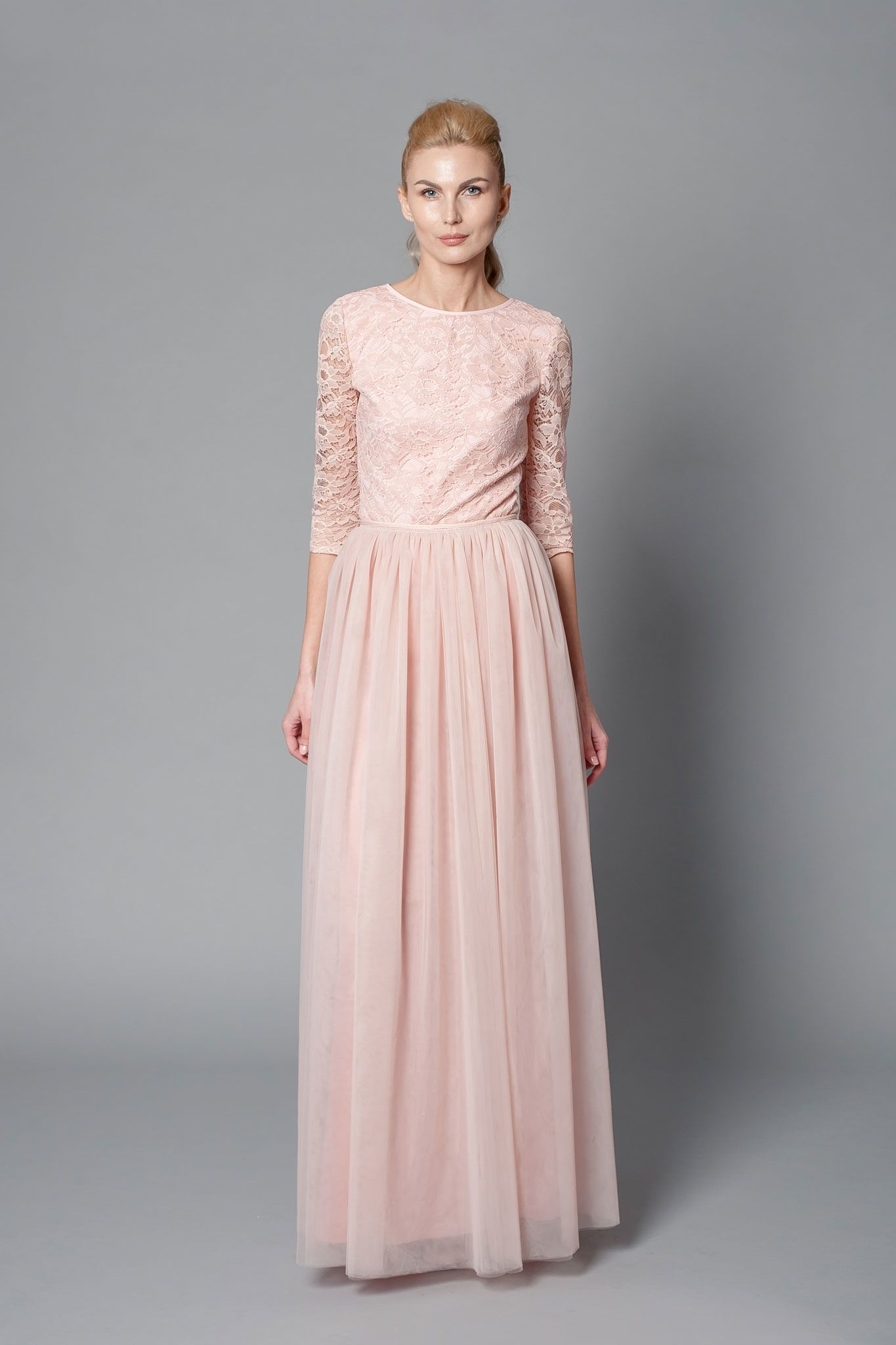 blush pink floor-length bridesmaid dress with tulle skirt