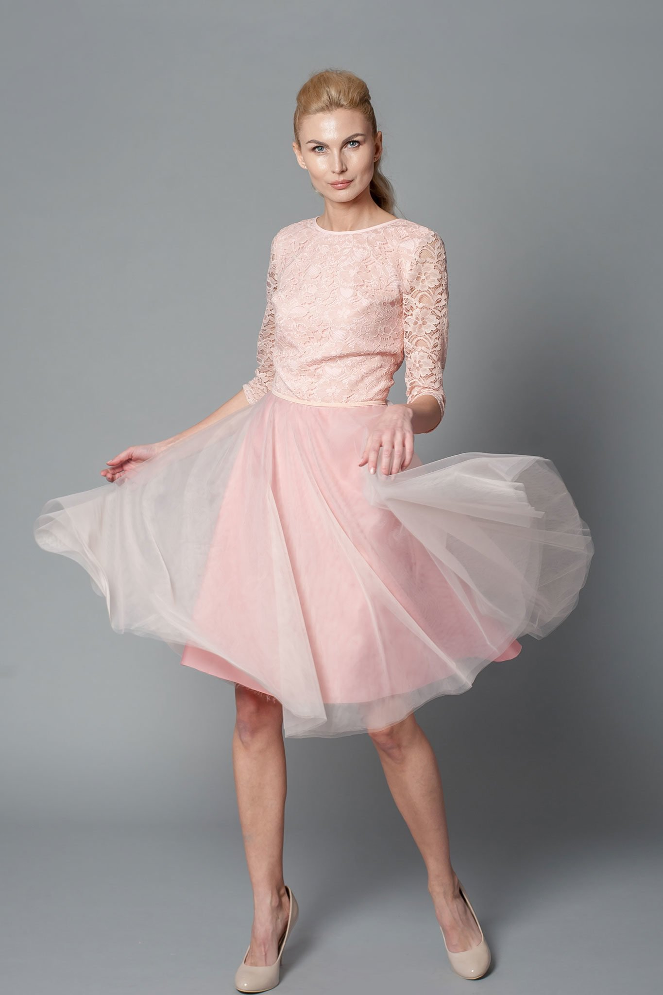 Prom blush pink dress with mid-length sleeves