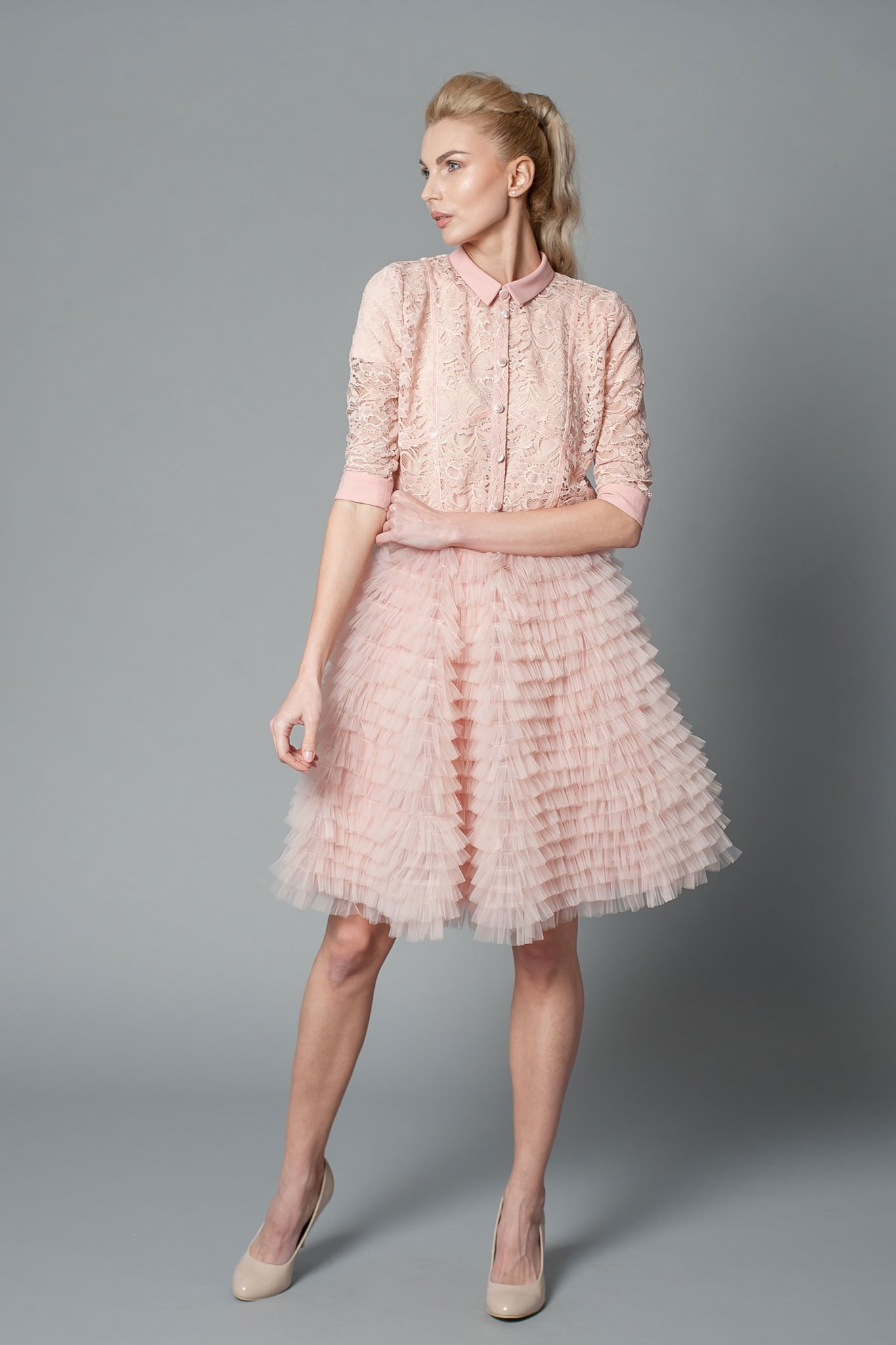 crepe mother of the bride dress with layered skirt